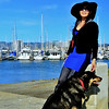 Lady with hat and dog :
