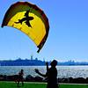 Kiteboarding at the Emeryville Marina :